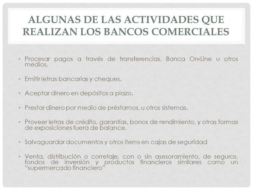 Algunas de las actividades que realizan los Bancos Comerciales