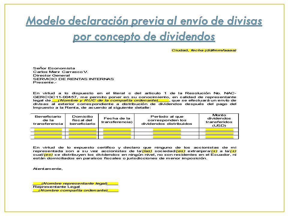 Modelo declaración previa al envío de divisas por concepto de dividendos