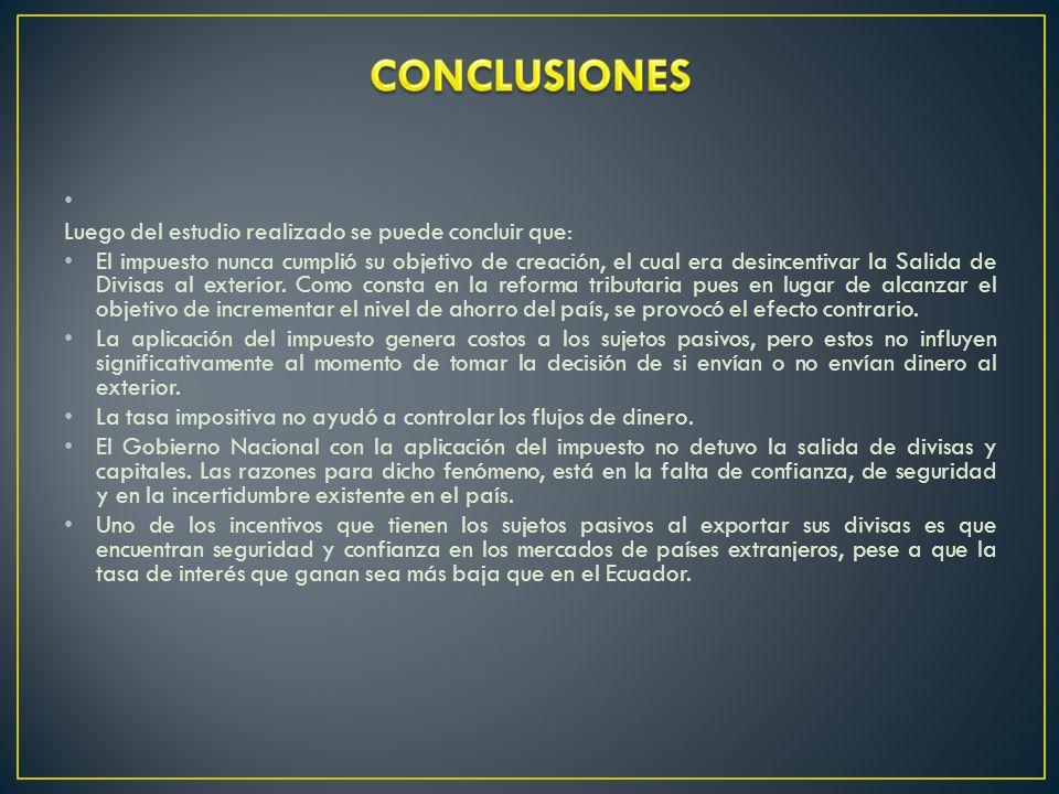 CONCLUSIONES Luego del estudio realizado se puede concluir que: