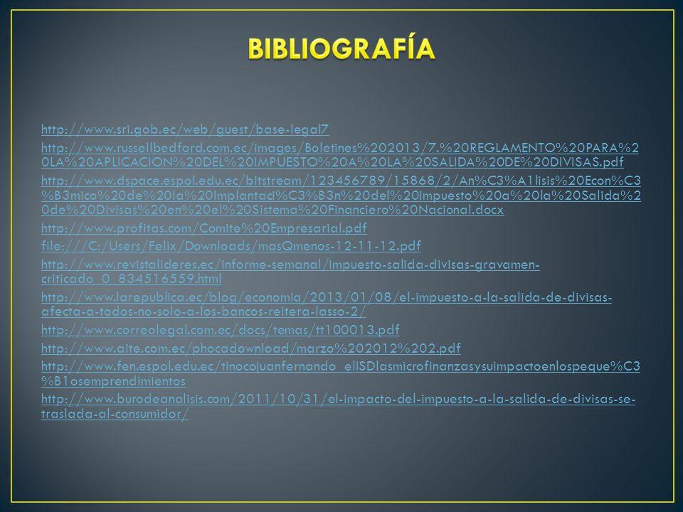 BIBLIOGRAFÍA http://www.sri.gob.ec/web/guest/base-legal7