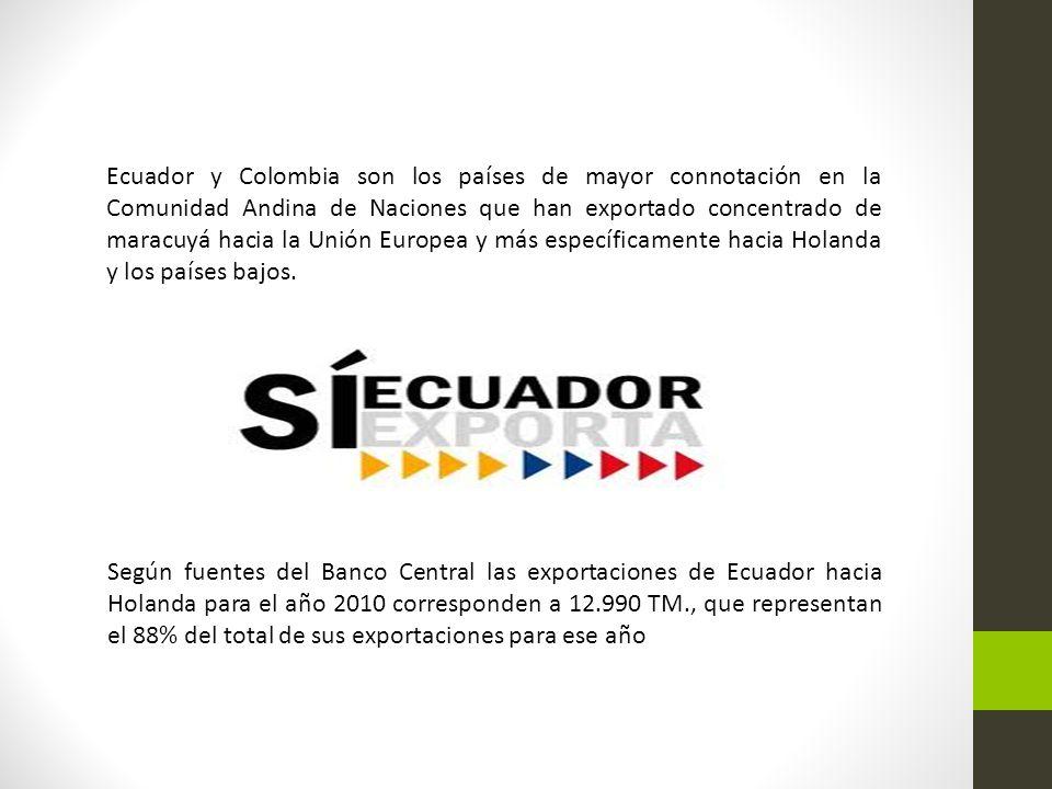 Ecuador y Colombia son los países de mayor connotación en la Comunidad Andina de Naciones que han exportado concentrado de maracuyá hacia la Unión Europea y más específicamente hacia Holanda y los países bajos.
