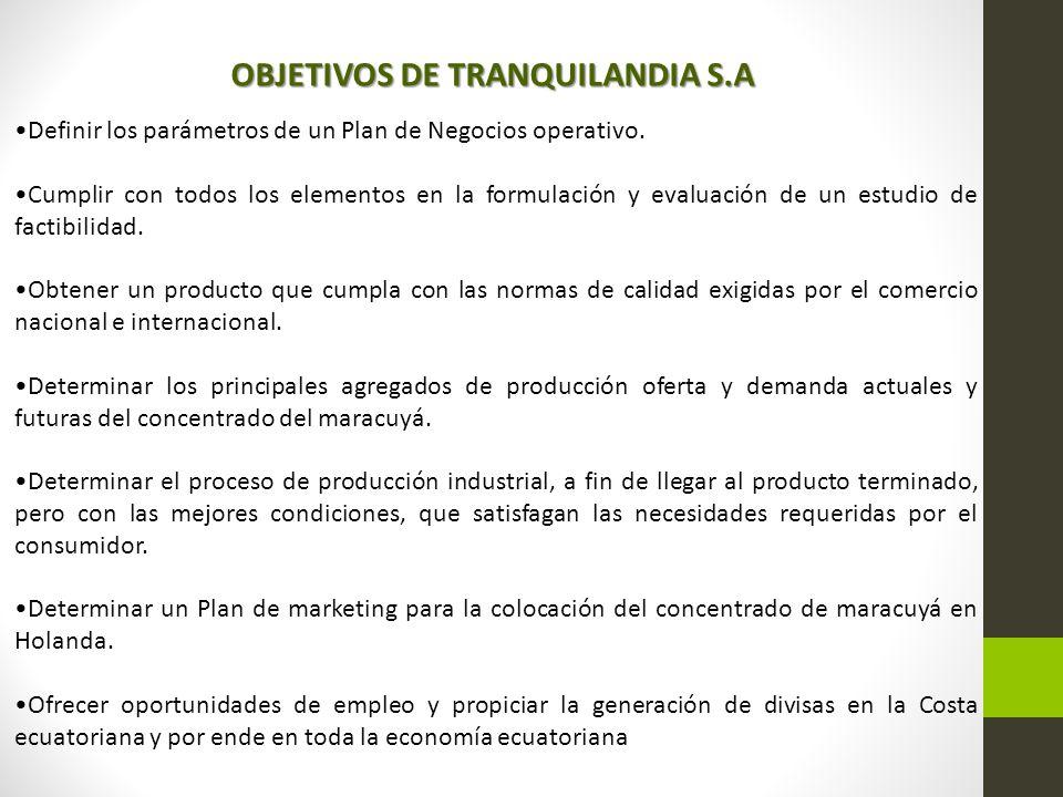 OBJETIVOS DE TRANQUILANDIA S.A