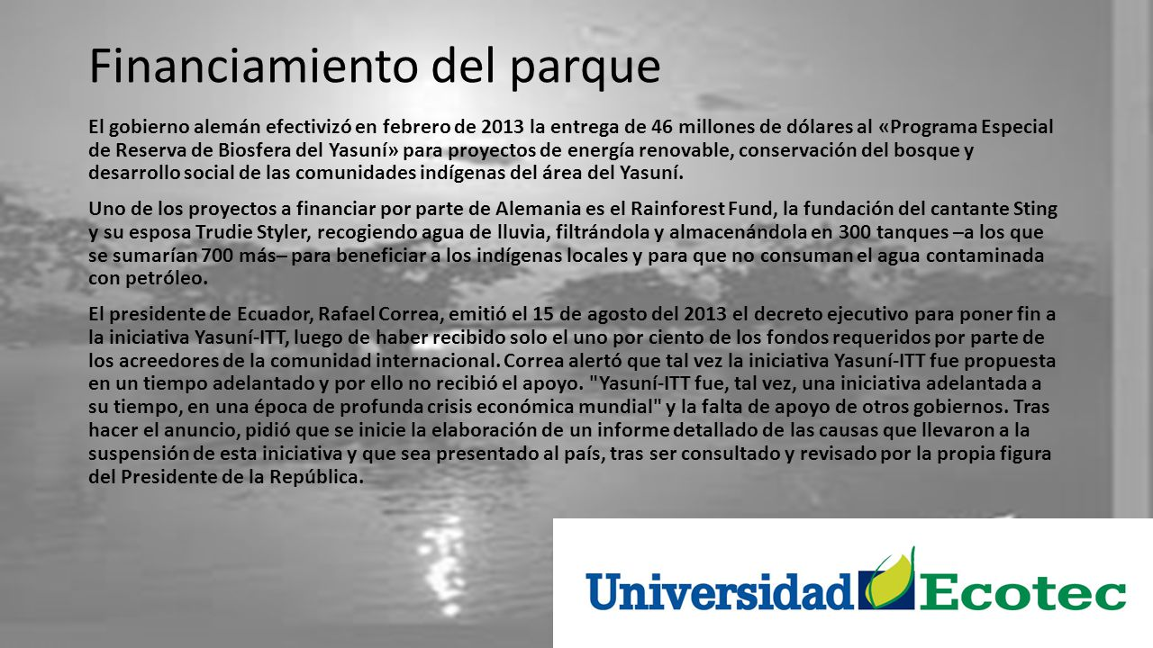 Financiamiento del parque