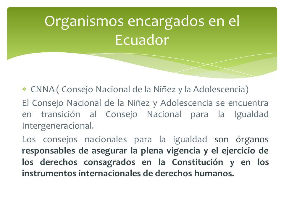 Organismos encargados en el Ecuador