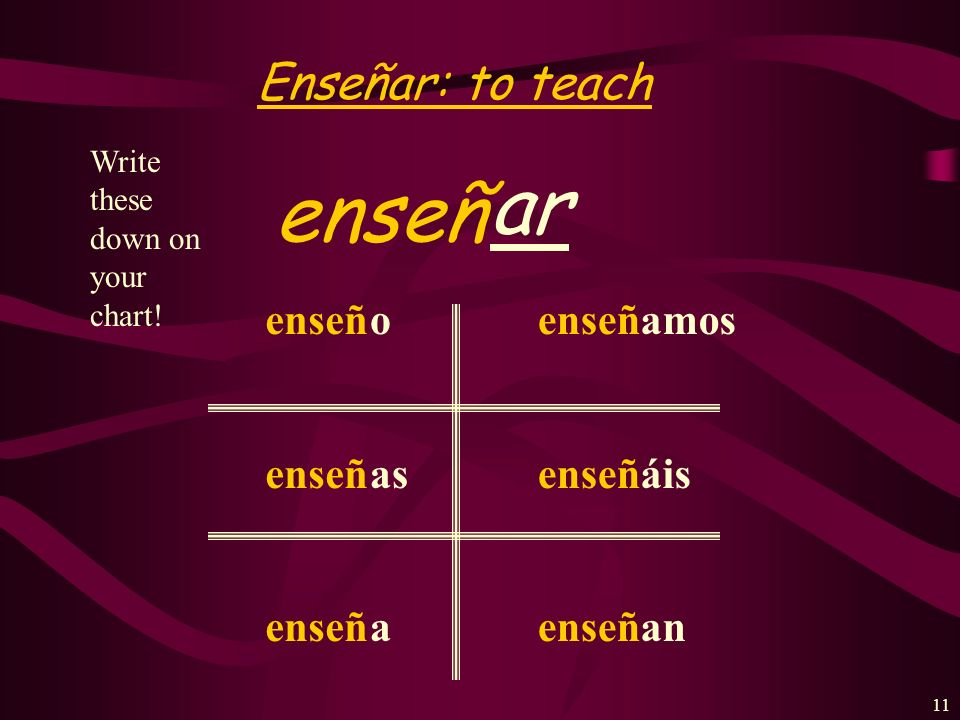 ar enseñ Enseñar: to teach enseñ o as a amos áis an