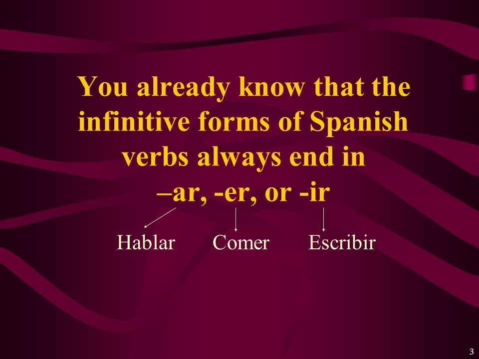 You already know that the infinitive forms of Spanish verbs always end in –ar, -er, or -ir