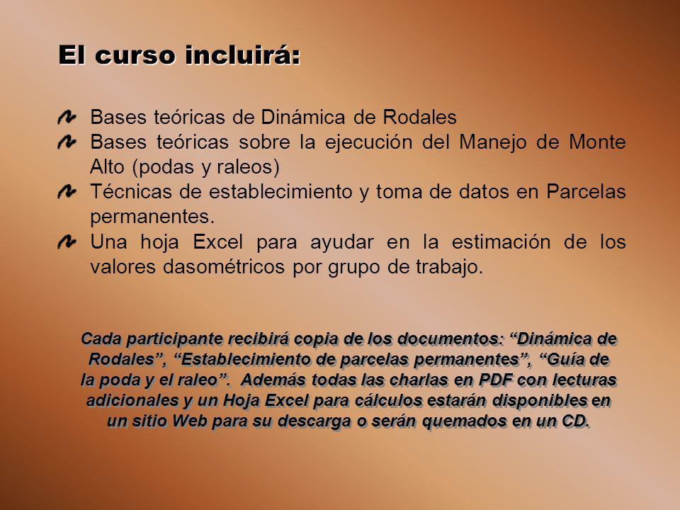 El curso incluirá: Bases teóricas de Dinámica de Rodales