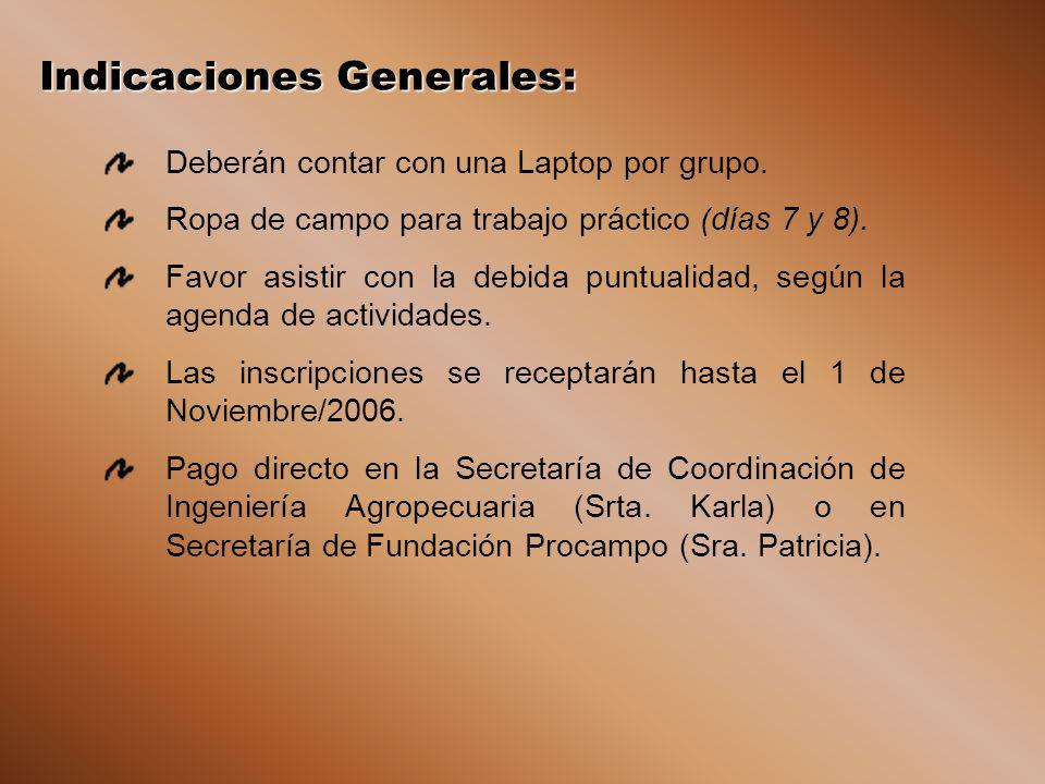 Indicaciones Generales: