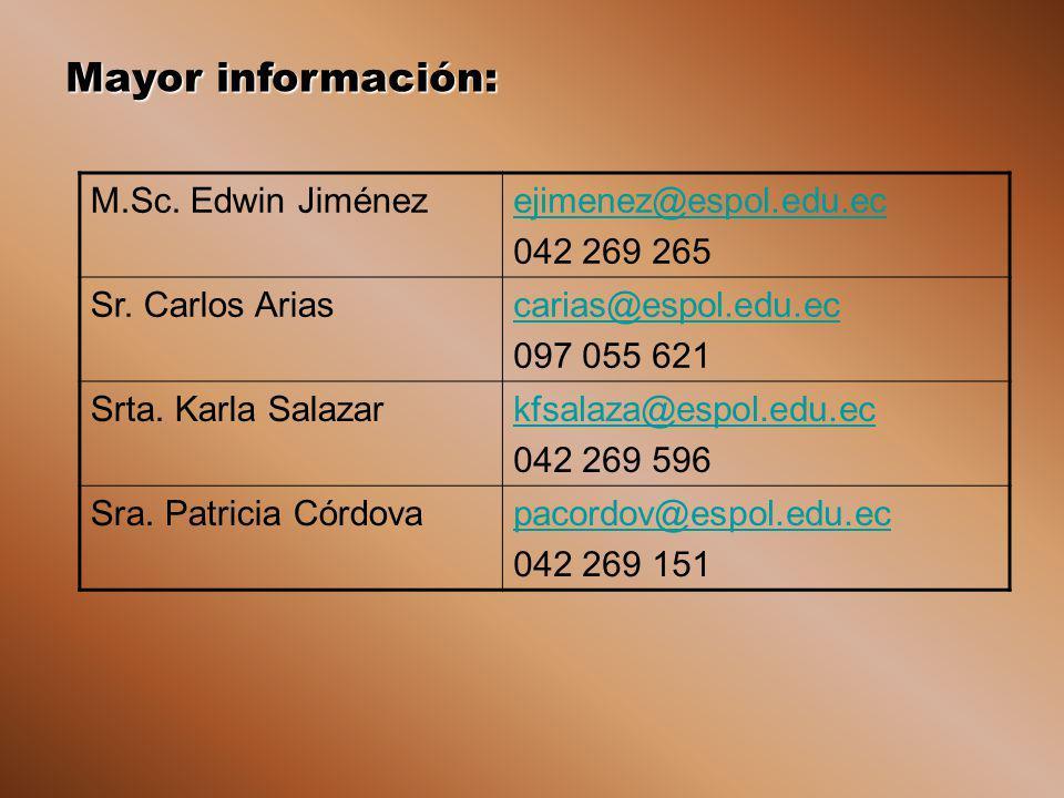 Mayor información: M.Sc. Edwin Jiménez ejimenez@espol.edu.ec