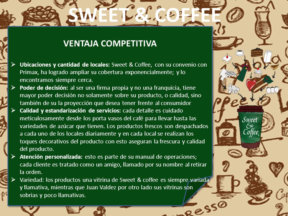 SWEET & COFFEE VENTAJA COMPETITIVA