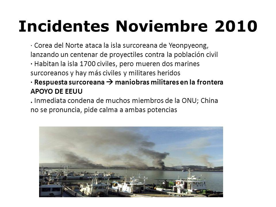 Incidentes Noviembre 2010 · Corea del Norte ataca la isla surcoreana de Yeonpyeong, lanzando un centenar de proyectiles contra la población civil.