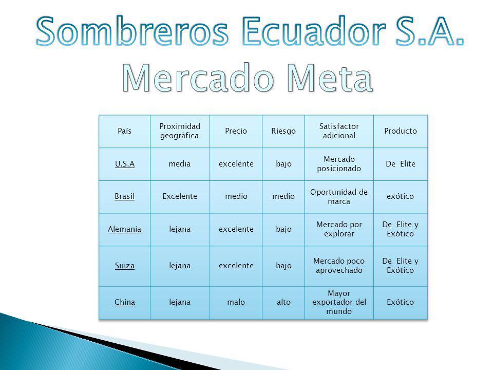 Sombreros Ecuador S.A. Mercado Meta