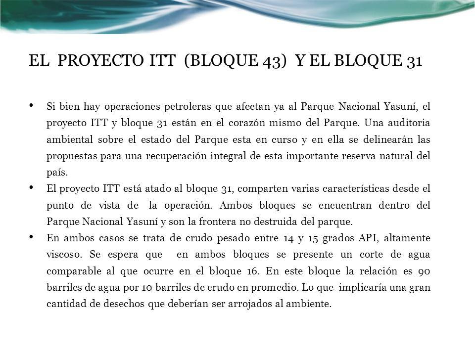 EL PROYECTO ITT (BLOQUE 43) Y EL BLOQUE 31