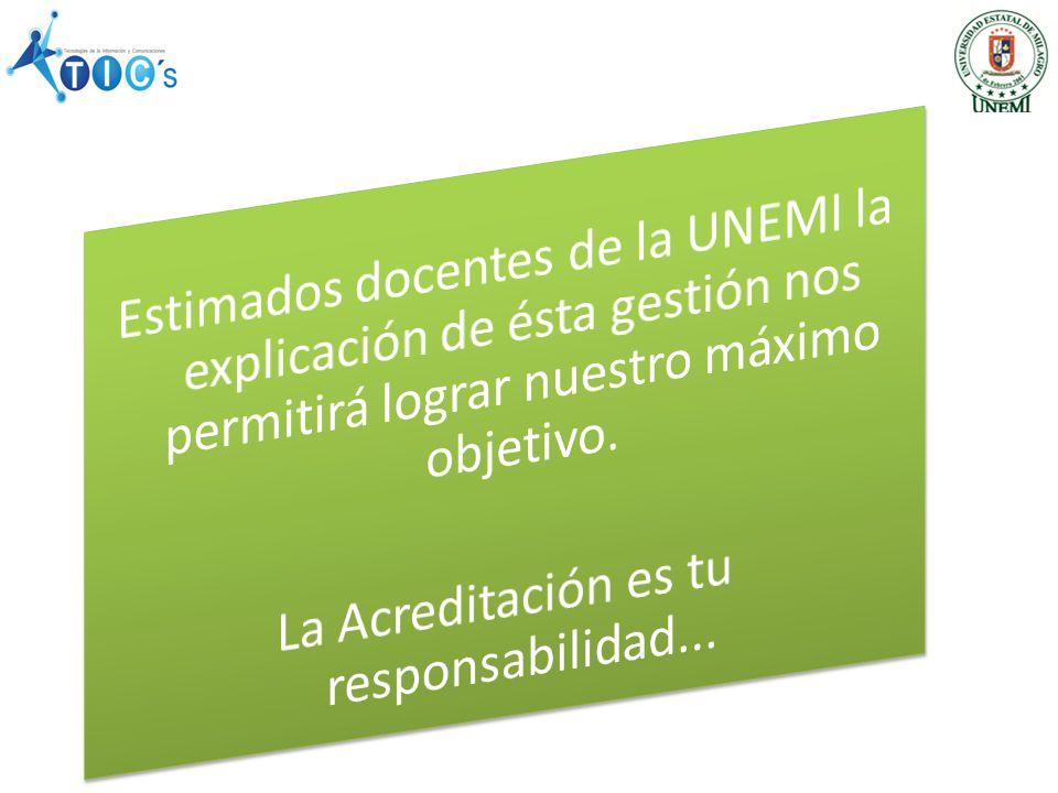 Estimados docentes de la UNEMI la explicación de ésta gestión nos permitirá lograr nuestro máximo objetivo.