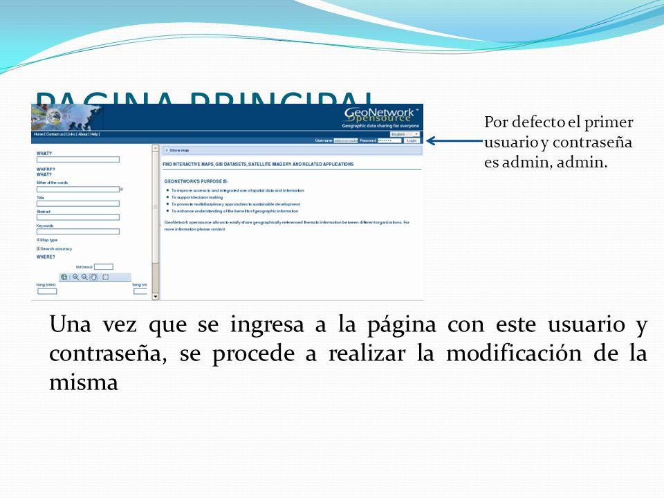 PAGINA PRINCIPAL Por defecto el primer. usuario y contraseña es admin, admin.
