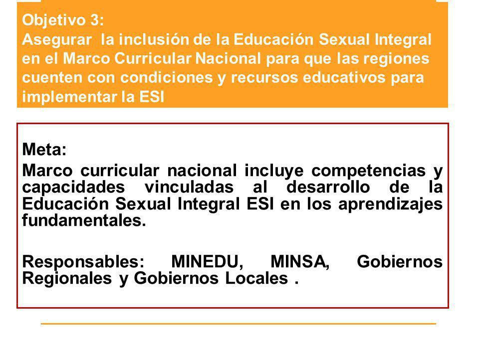 Objetivo 3: Asegurar la inclusión de la Educación Sexual Integral en el Marco Curricular Nacional para que las regiones cuenten con condiciones y recursos educativos para implementar la ESI