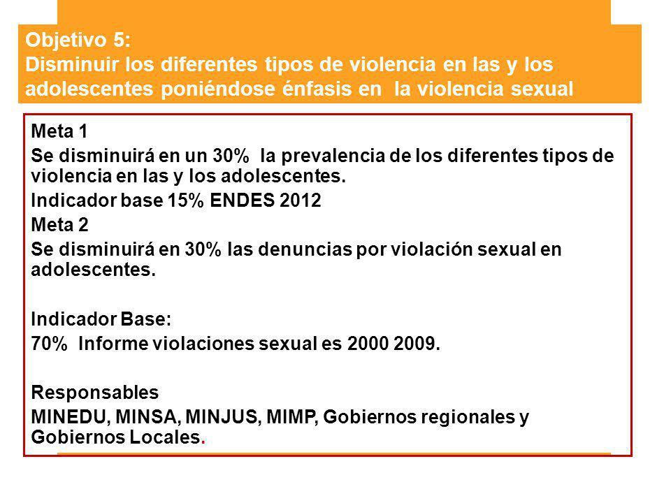 Objetivo 5: Disminuir los diferentes tipos de violencia en las y los adolescentes poniéndose énfasis en la violencia sexual