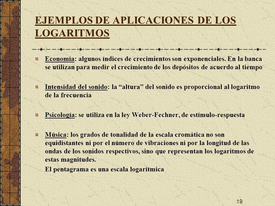 EJEMPLOS DE APLICACIONES DE LOS LOGARITMOS