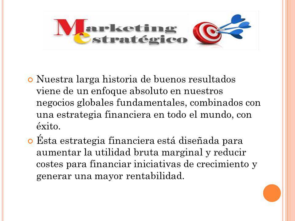 Nuestra larga historia de buenos resultados viene de un enfoque absoluto en nuestros negocios globales fundamentales, combinados con una estrategia financiera en todo el mundo, con éxito.