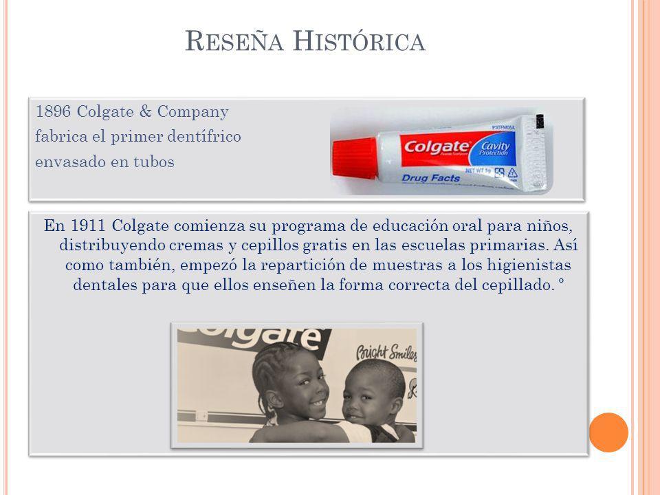 Reseña Histórica 1896 Colgate & Company fabrica el primer dentífrico envasado en tubos