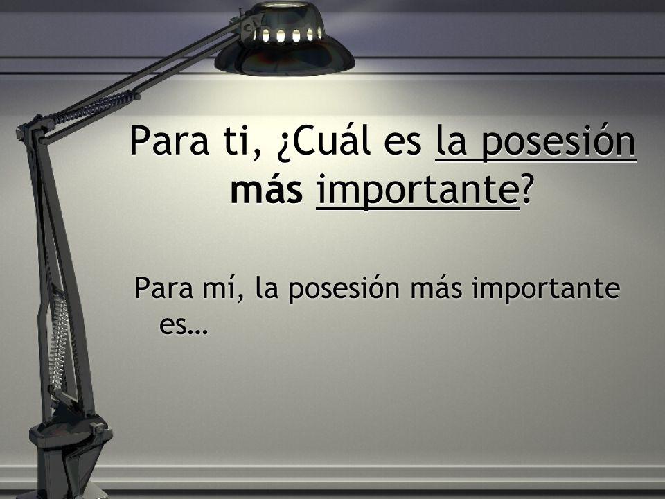 Para ti, ¿Cuál es la posesión más importante