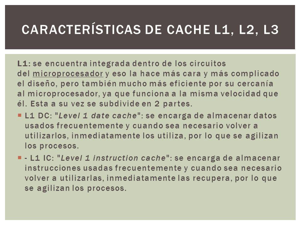 Características de cache l1, l2, l3