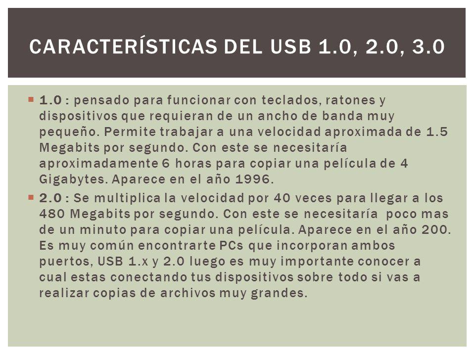CARACTERÍSTICAS DEL USB 1.0, 2.0, 3.0