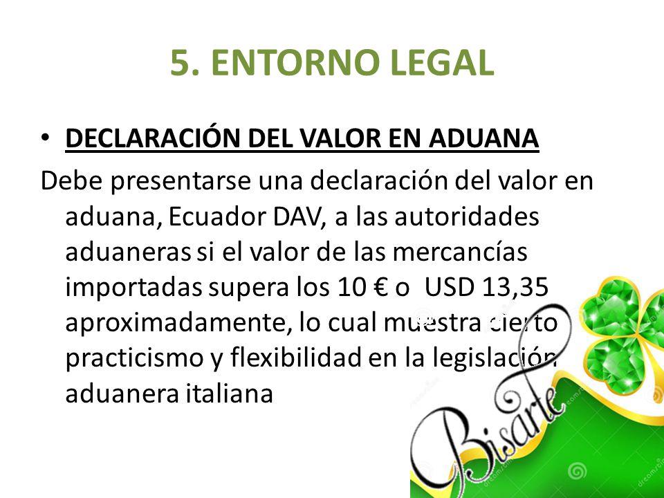 5. ENTORNO LEGAL DECLARACIÓN DEL VALOR EN ADUANA