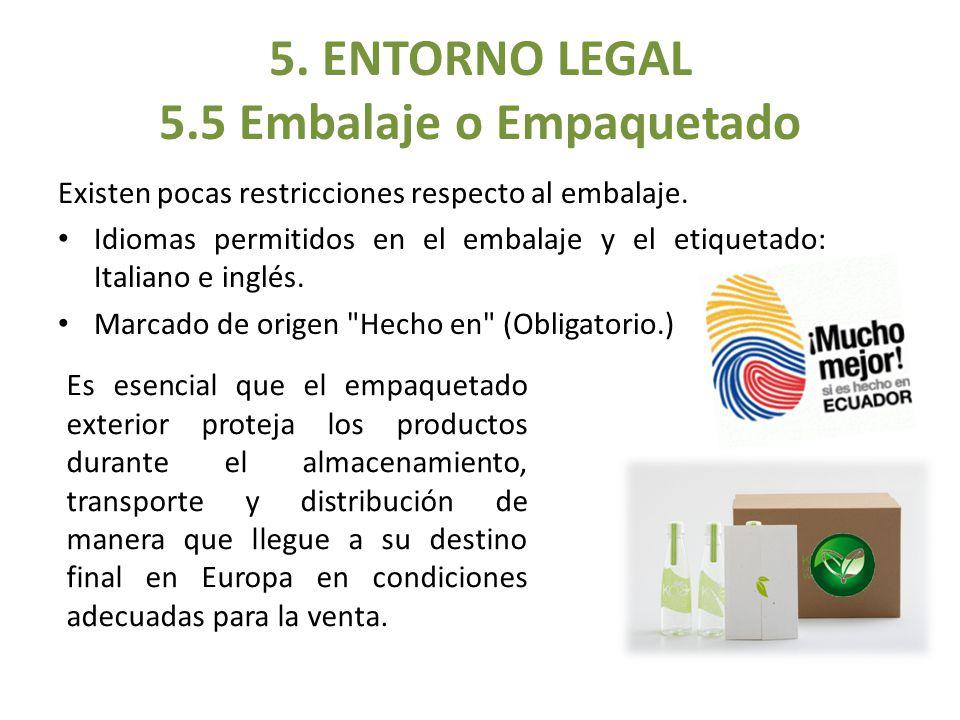 5. ENTORNO LEGAL 5.5 Embalaje o Empaquetado