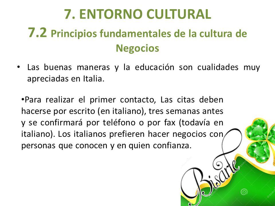 7. ENTORNO CULTURAL 7.2 Principios fundamentales de la cultura de Negocios