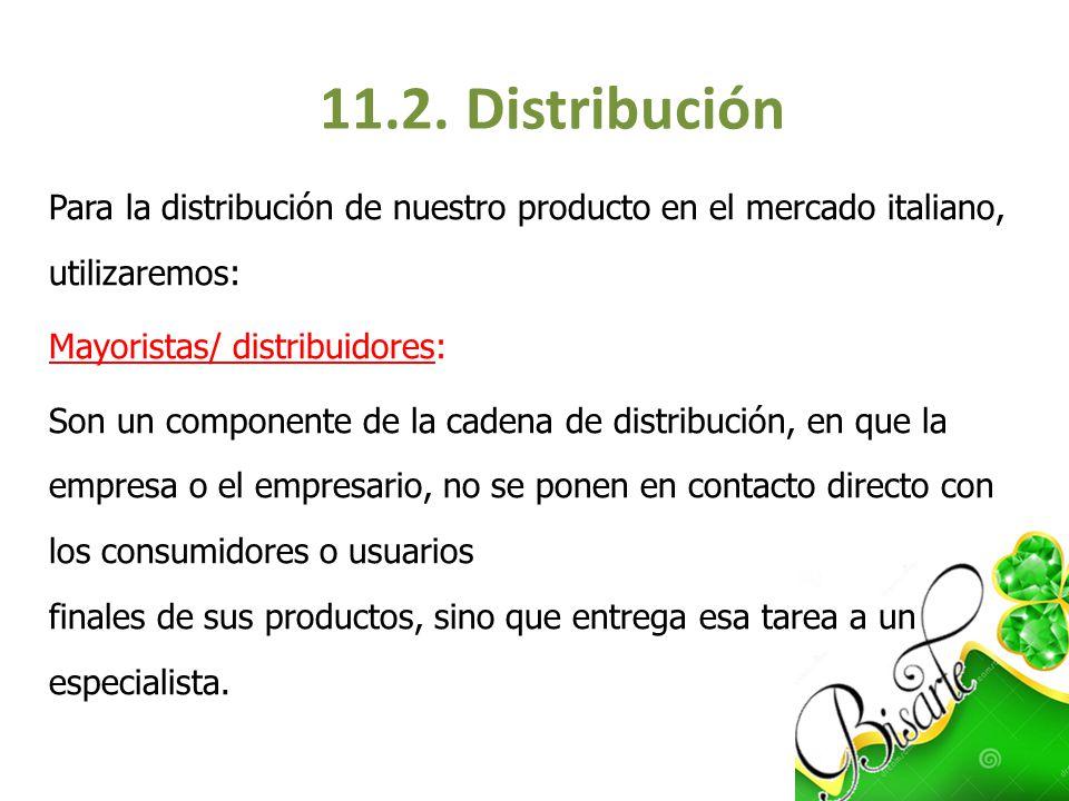 11.2. Distribución Para la distribución de nuestro producto en el mercado italiano, utilizaremos: Mayoristas/ distribuidores: