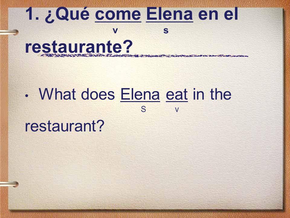 1. ¿Qué come Elena en el v s restaurante