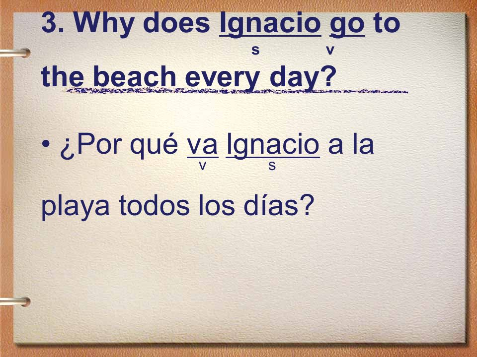 3. Why does Ignacio go to s v the beach every day