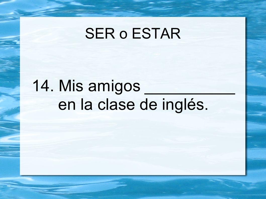 14. Mis amigos __________ en la clase de inglés.