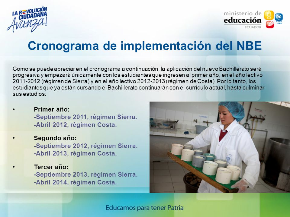 Cronograma de implementación del NBE
