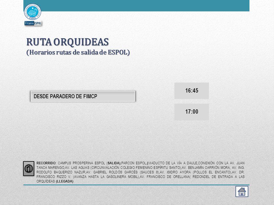 RUTA ORQUIDEAS (Horarios rutas de salida de ESPOL)