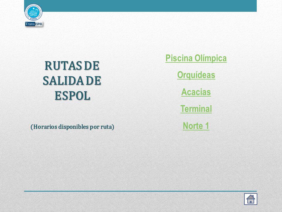 RUTAS DE SALIDA DE ESPOL (Horarios disponibles por ruta)