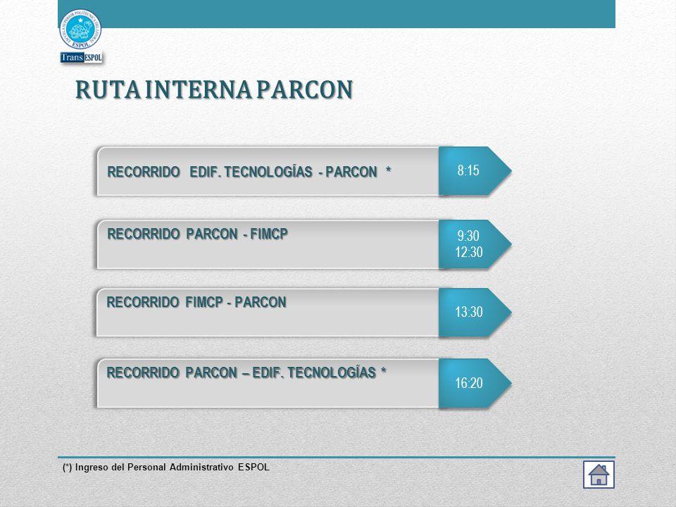 RUTA INTERNA PARCON RECORRIDO EDIF. TECNOLOGÍAS - PARCON *