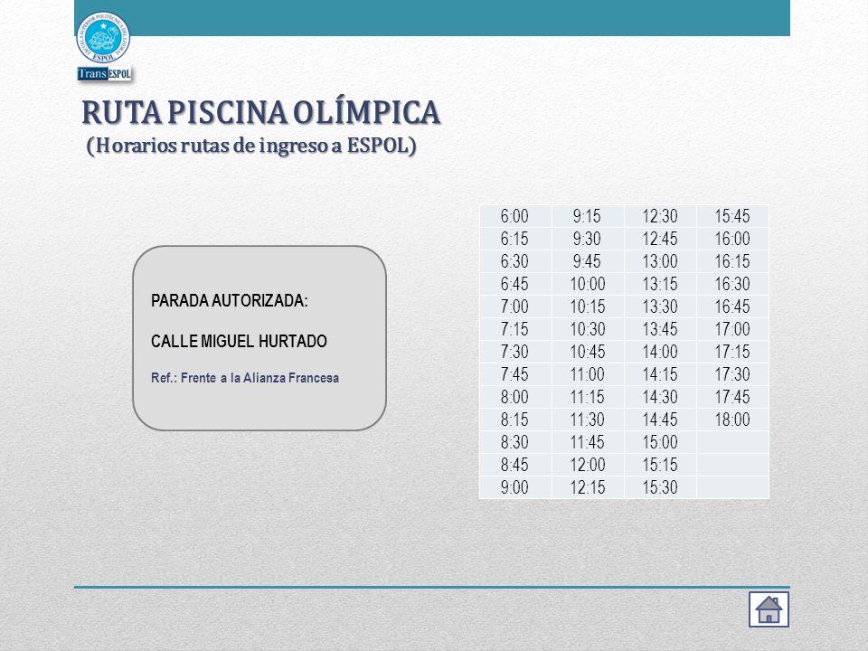 RUTA PISCINA OLÍMPICA (Horarios rutas de ingreso a ESPOL)