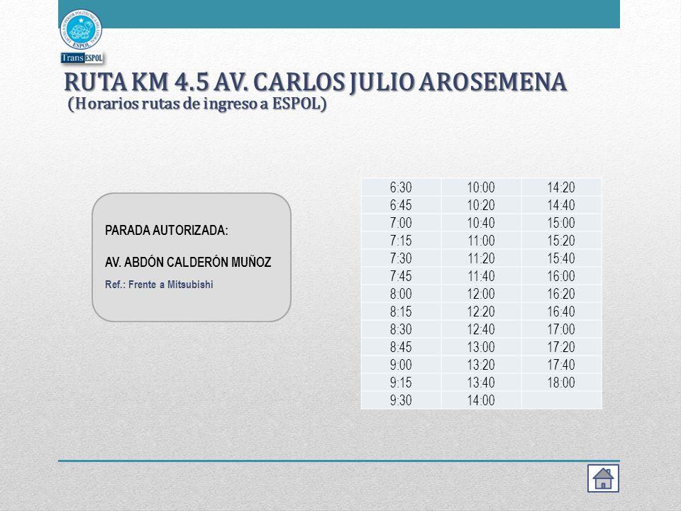 RUTA KM 4.5 AV. CARLOS JULIO AROSEMENA (Horarios rutas de ingreso a ESPOL)