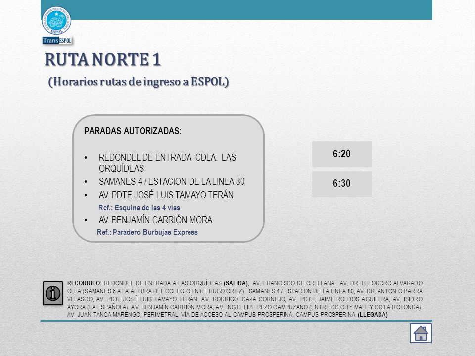 RUTA NORTE 1 (Horarios rutas de ingreso a ESPOL)