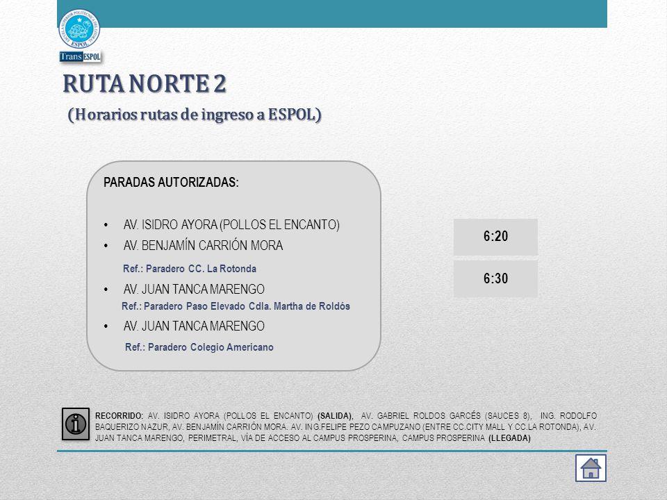 RUTA NORTE 2 (Horarios rutas de ingreso a ESPOL)