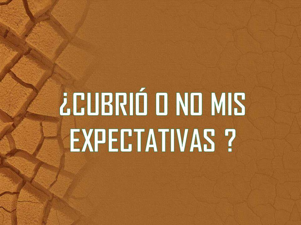 ¿CUBRIÓ O NO MIS EXPECTATIVAS