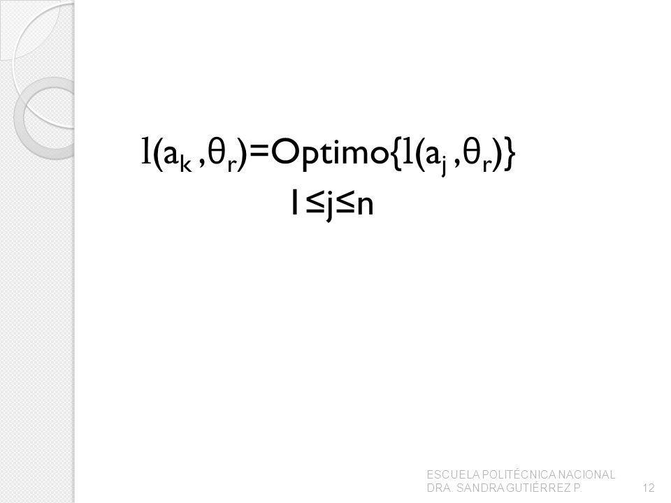 l(ak ,θr)=Optimo{l(aj ,θr)} 1≤j≤n