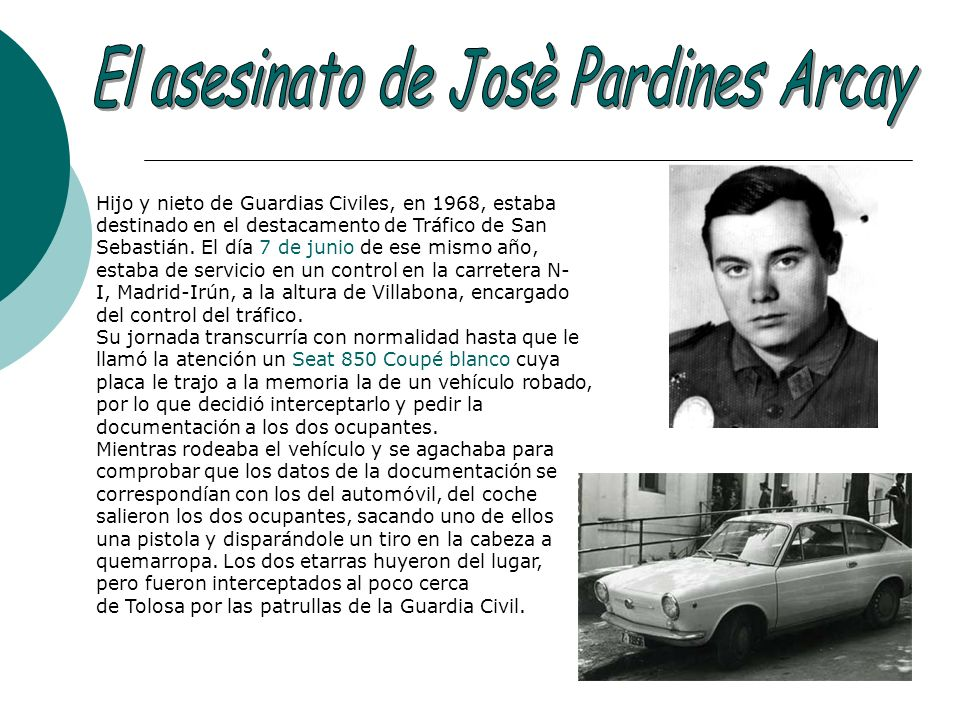 El asesinato de Josè Pardines Arcay