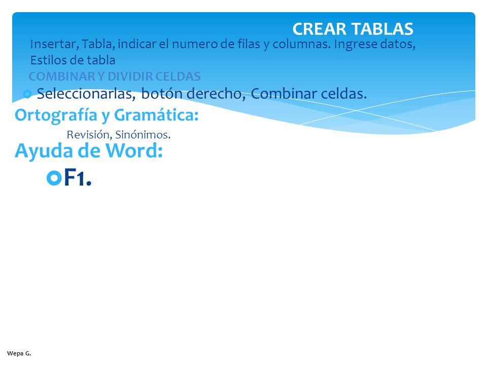 F1. Ayuda de Word: CREAR TABLAS Ortografía y Gramática: