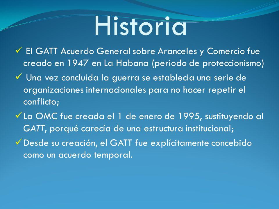 HistoriaEl GATT Acuerdo General sobre Aranceles y Comercio fue creado en 1947 en La Habana (periodo de proteccionismo)