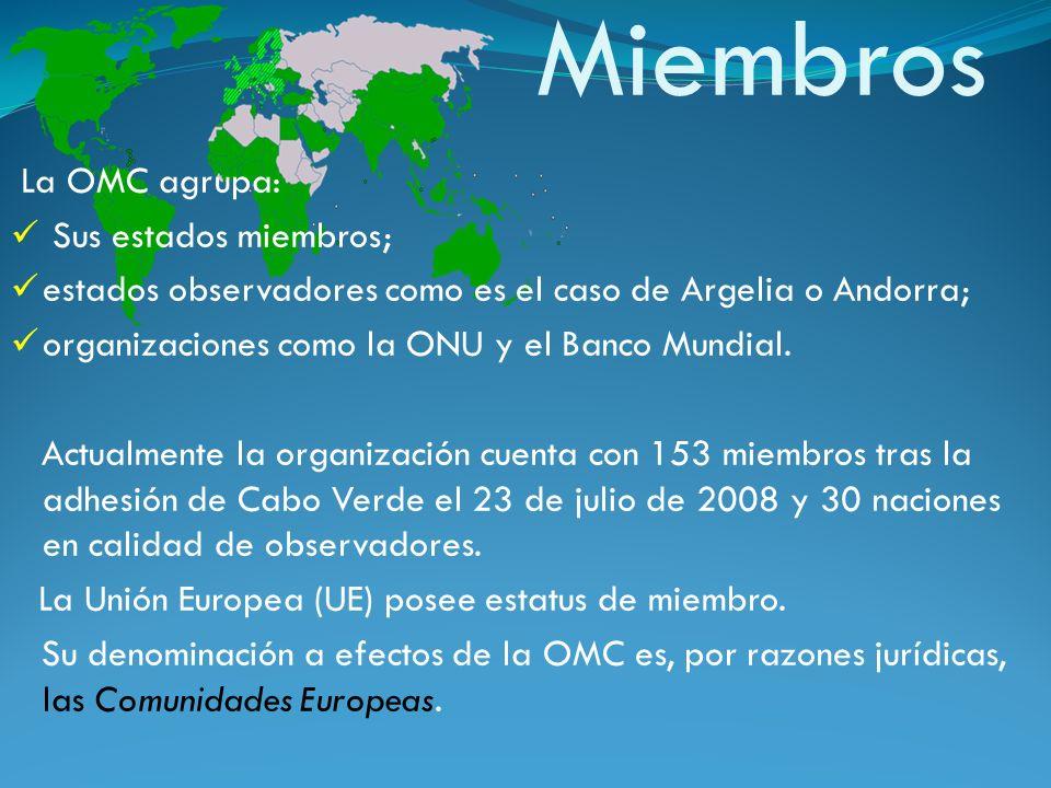 Miembros La OMC agrupa: Sus estados miembros;