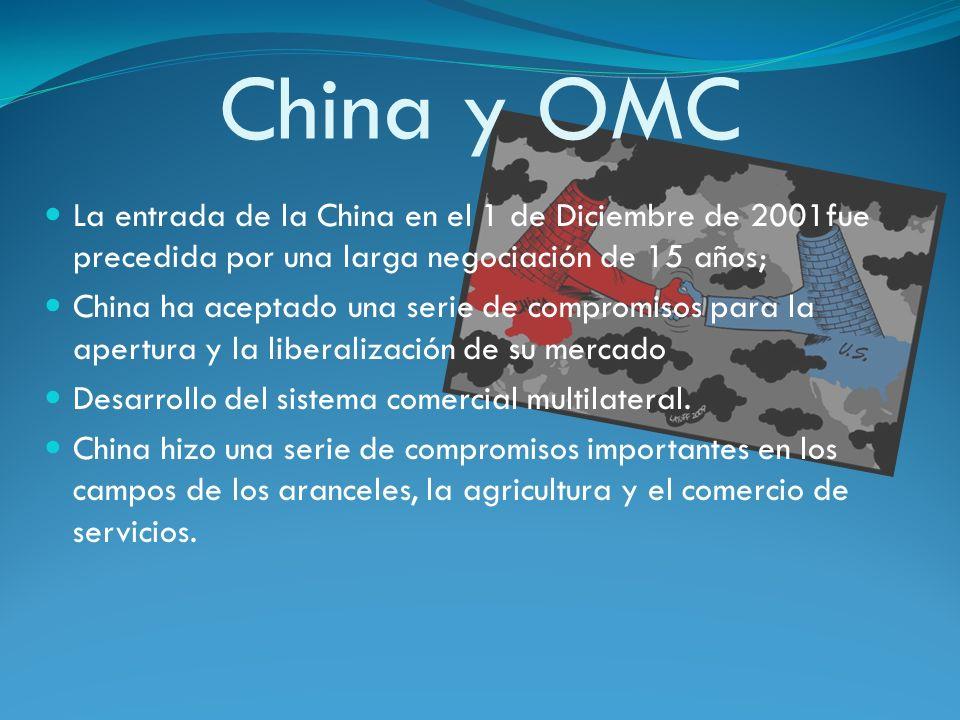 China y OMCLa entrada de la China en el 1 de Diciembre de 2001fue precedida por una larga negociación de 15 años;