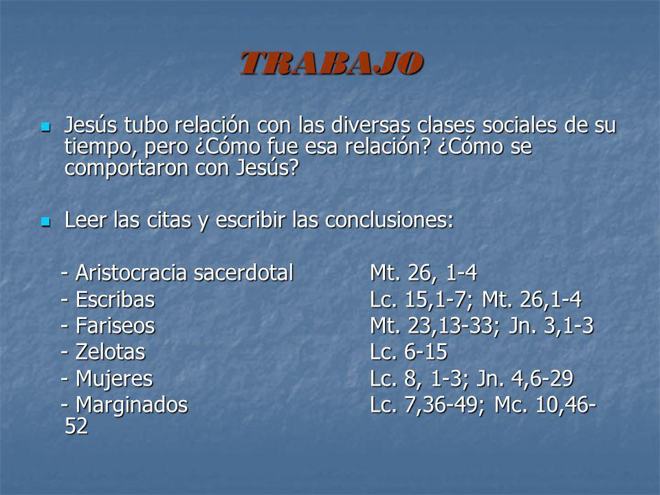 TRABAJO Jesús tubo relación con las diversas clases sociales de su tiempo, pero ¿Cómo fue esa relación ¿Cómo se comportaron con Jesús